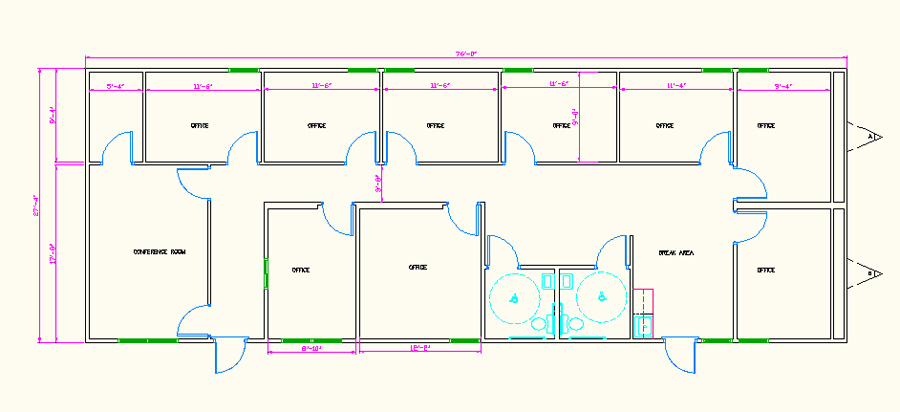 Large Modular office building floorplan