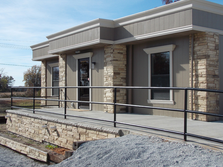 Custom Modular Building with rock accents and trim