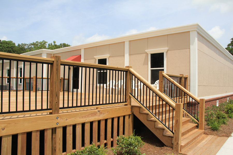 Large Deck on back of modular building
