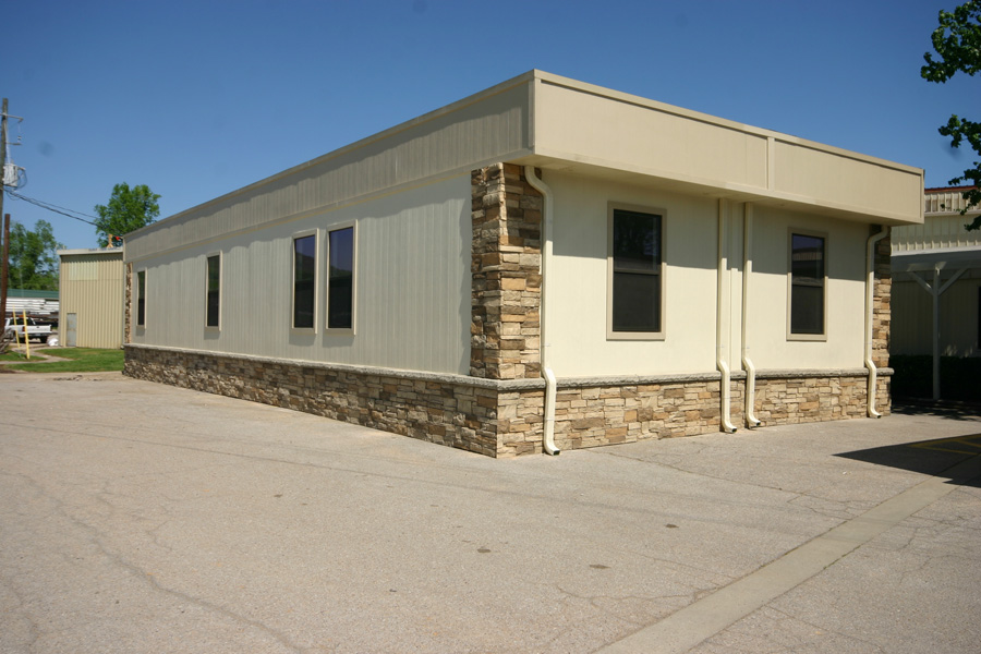 Modular Building with faux rock skirting