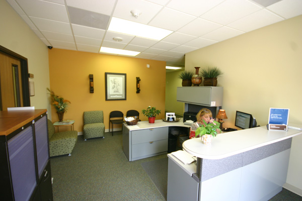 Receptionist Desk with accent wall