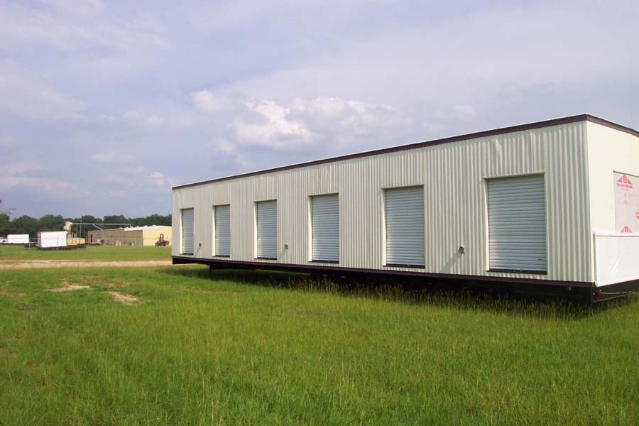 Roll-up doors in modular building