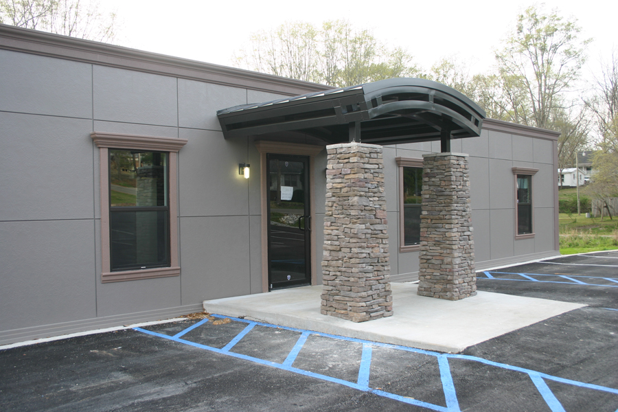Whatley Health Clinic Modular Building with Rock Entrance Awning